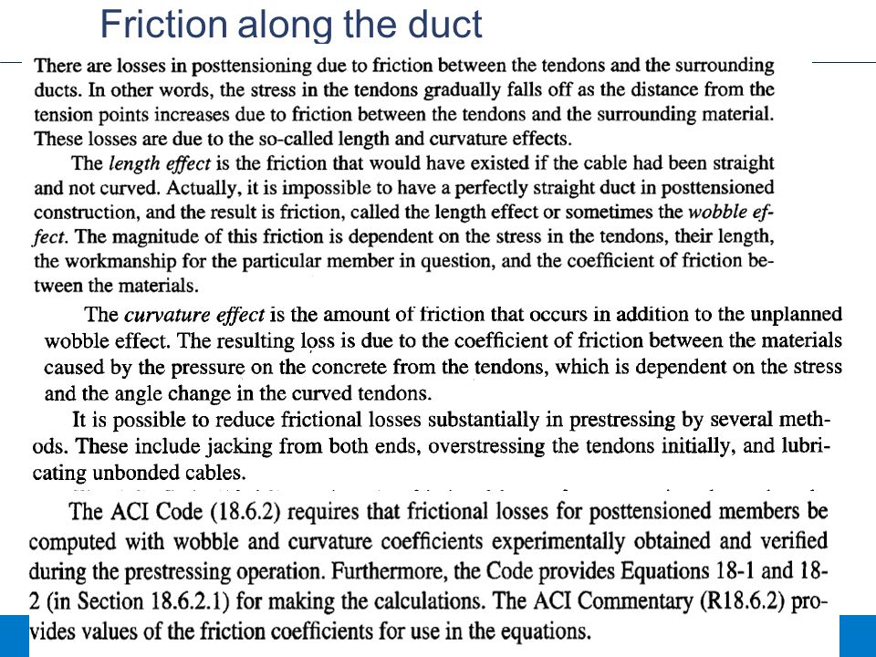 Friction along the duct
