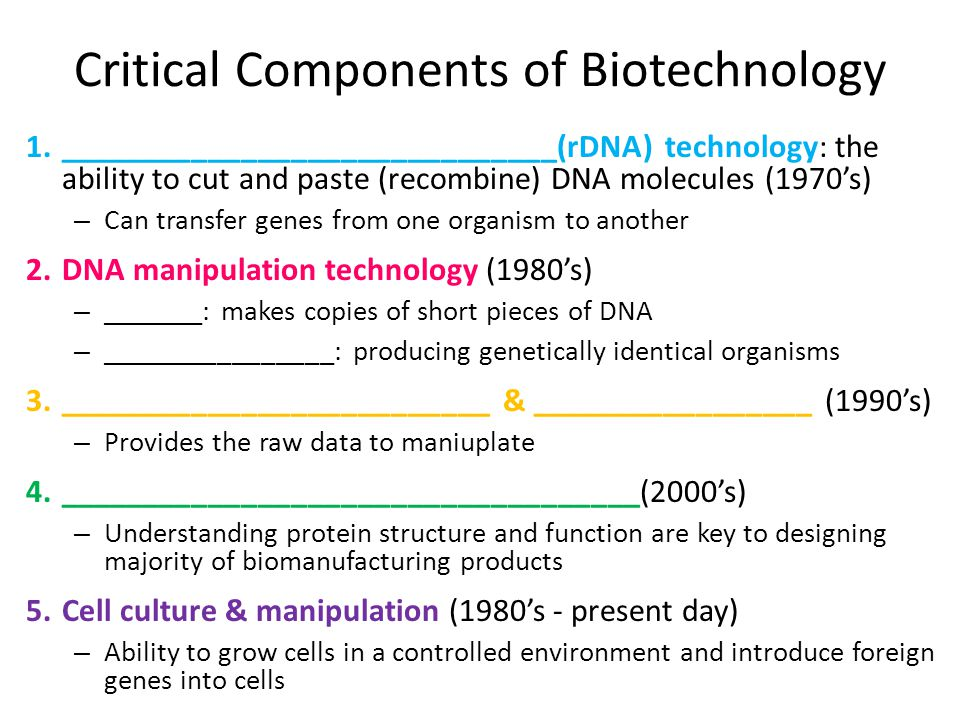 Critical Components of Biotechnology 1.______________________________(rDNA) technology: the ability to cut and paste (recombine) DNA molecules (1970's