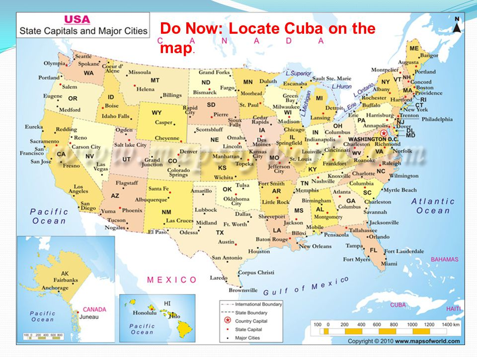 What's the relationship geographically between the U.S. and Cuba?