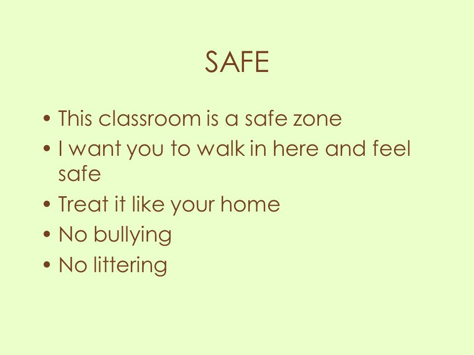 SAFE This classroom is a safe zone I want you to walk in here and feel safe Treat it like your home No bullying No littering