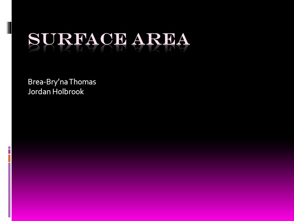 OBJECTIVE  STUDENTS WILL LEARN SURFACE AREA FORMALAS AND LOOK AT SOME EXAMPLES AND LEARN THE STEPS