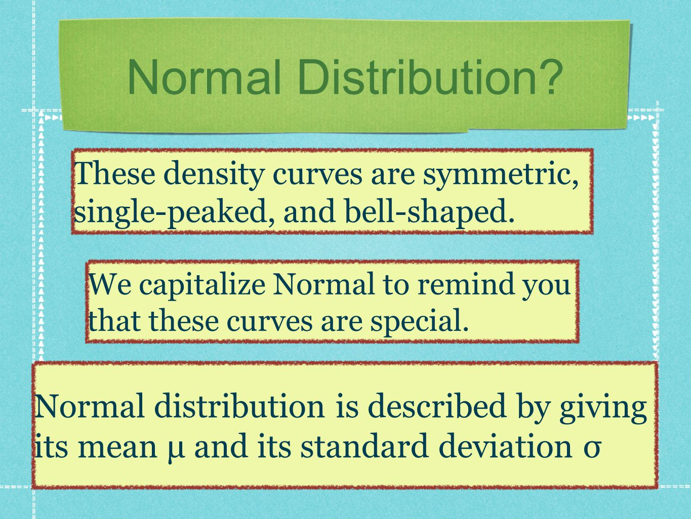 Shape of the Normal curve The standard deviation σ controls the spread of a Normal curve