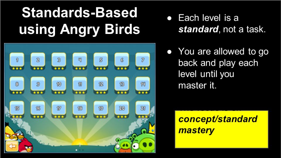 Standards-Based using Angry Birds ●Each level is a standard, not a task.