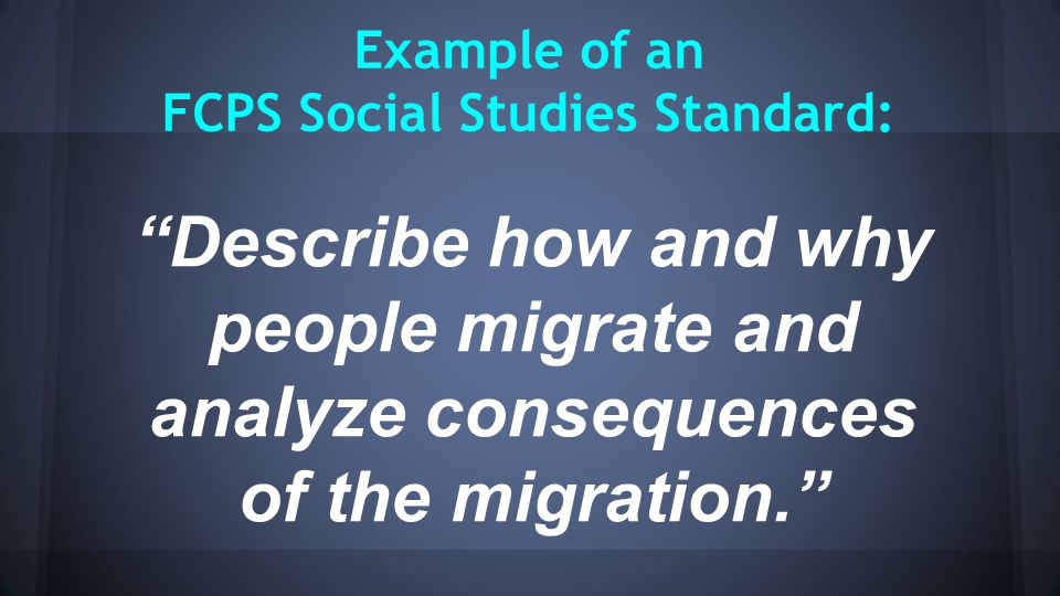 """Example of an FCPS Social Studies Standard: """"Describe how and why people migrate and analyze consequences of the migration."""""""