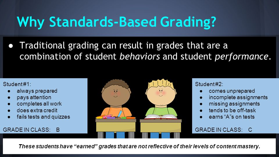 Why Standards-Based Grading? ● Traditional grading can result in grades that are a combination of student behaviors and student performance. Student #