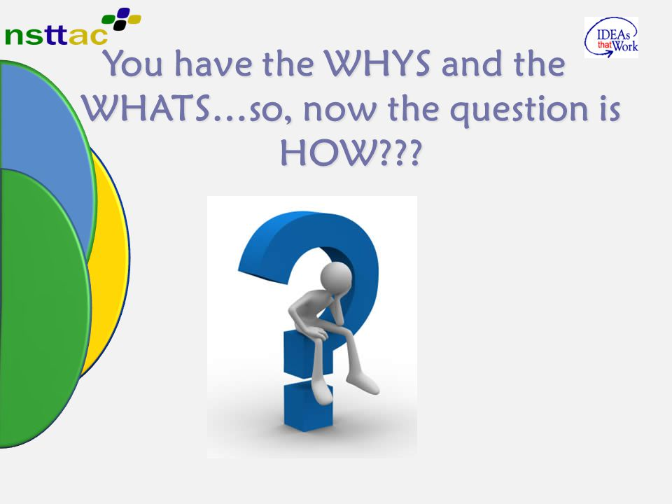 You have the WHYS and the WHATS…so, now the question is HOW???