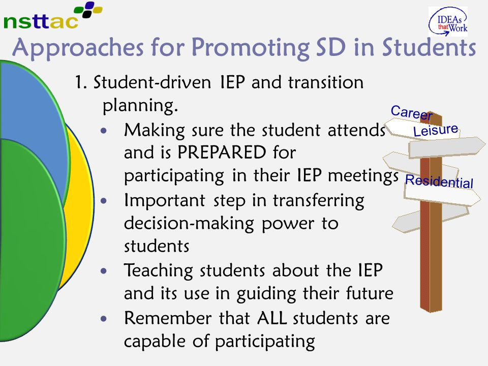 Approaches for Promoting SD in Students 1. Student-driven IEP and transition planning. Making sure the student attends and is PREPARED for participati