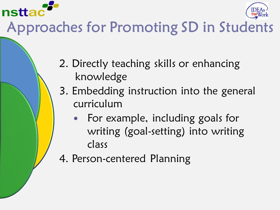 2. Directly teaching skills or enhancing knowledge 3. Embedding instruction into the general curriculum For example, including goals for writing (goal