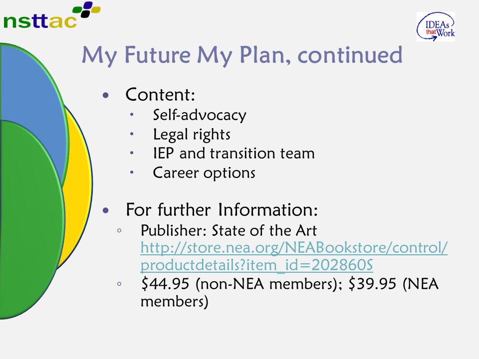 My Future My Plan, continued Content:  Self-advocacy  Legal rights  IEP and transition team  Career options For further Information: ◦ Publisher: