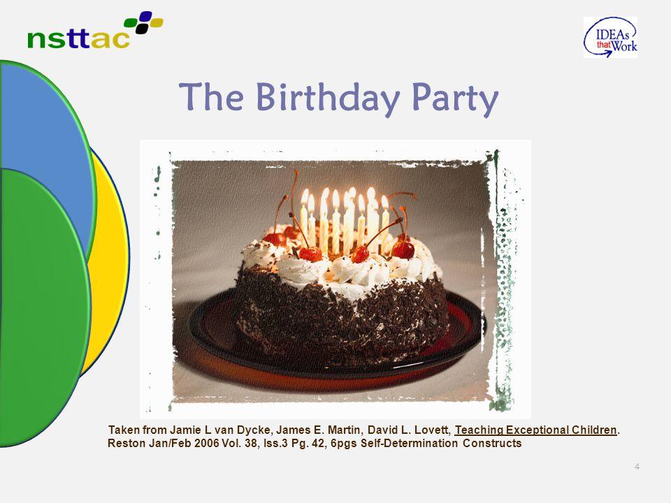 4 The Birthday Party Taken from Jamie L van Dycke, James E. Martin, David L. Lovett, Teaching Exceptional Children. Reston Jan/Feb 2006 Vol. 38, Iss.3