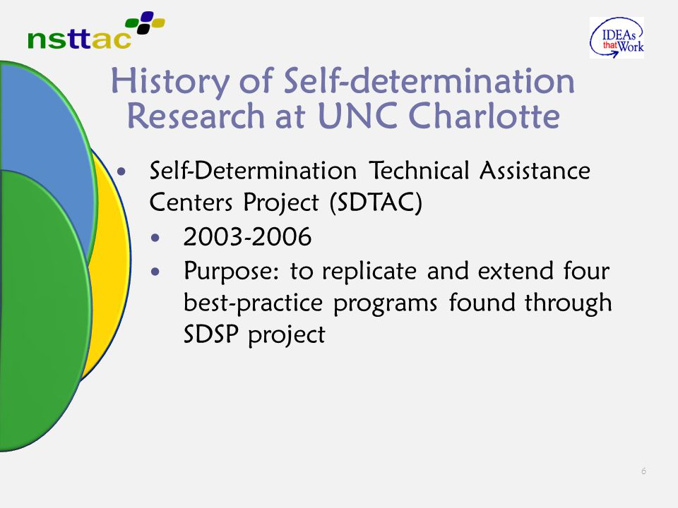 6 History of Self-determination Research at UNC Charlotte Self-Determination Technical Assistance Centers Project (SDTAC) 2003-2006 Purpose: to replic