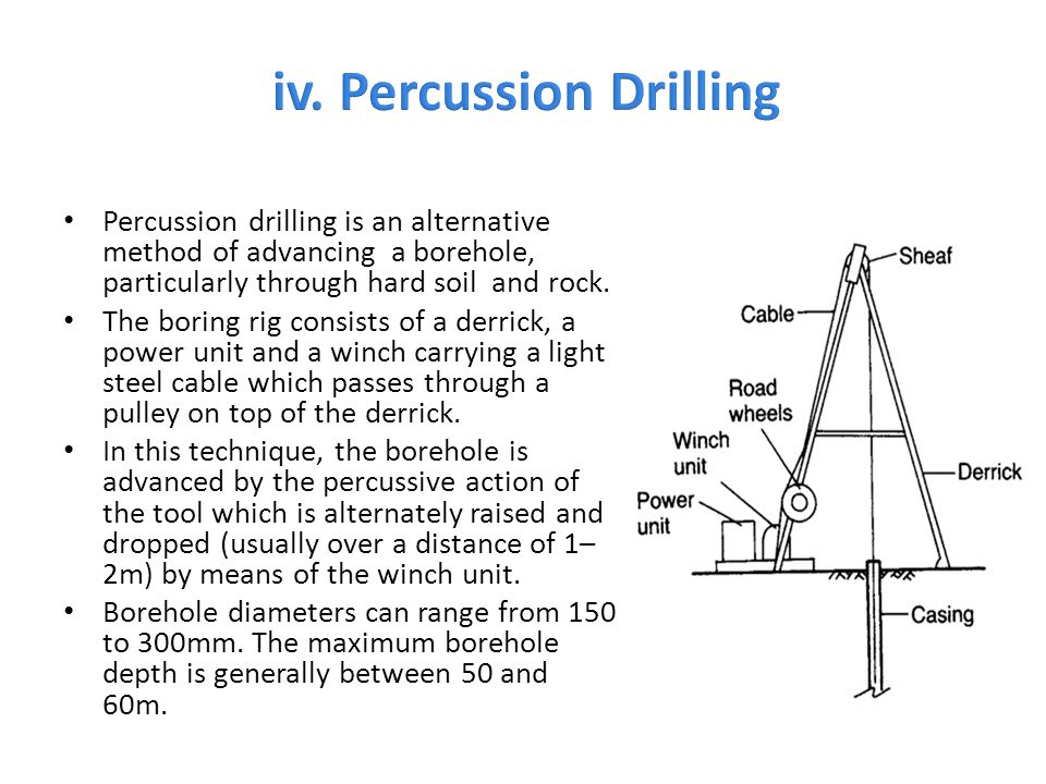 Percussion drilling is an alternative method of advancing a borehole, particularly through hard soil and rock. The boring rig consists of a derrick, a