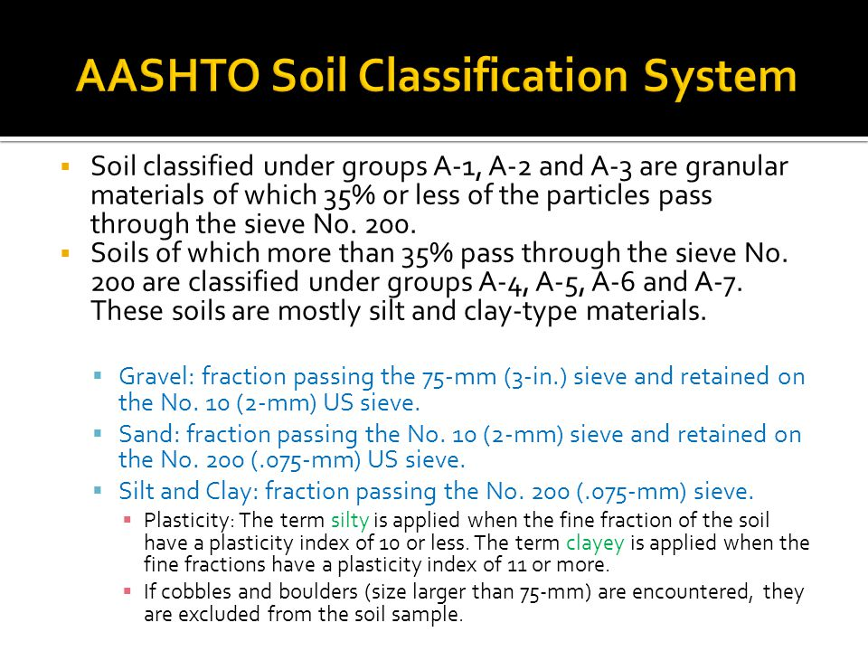  Soil classified under groups A-1, A-2 and A-3 are granular materials of which 35% or less of the particles pass through the sieve No.