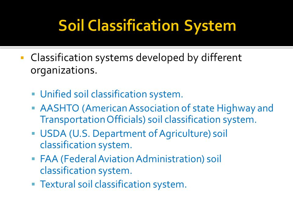  Classification systems developed by different organizations.