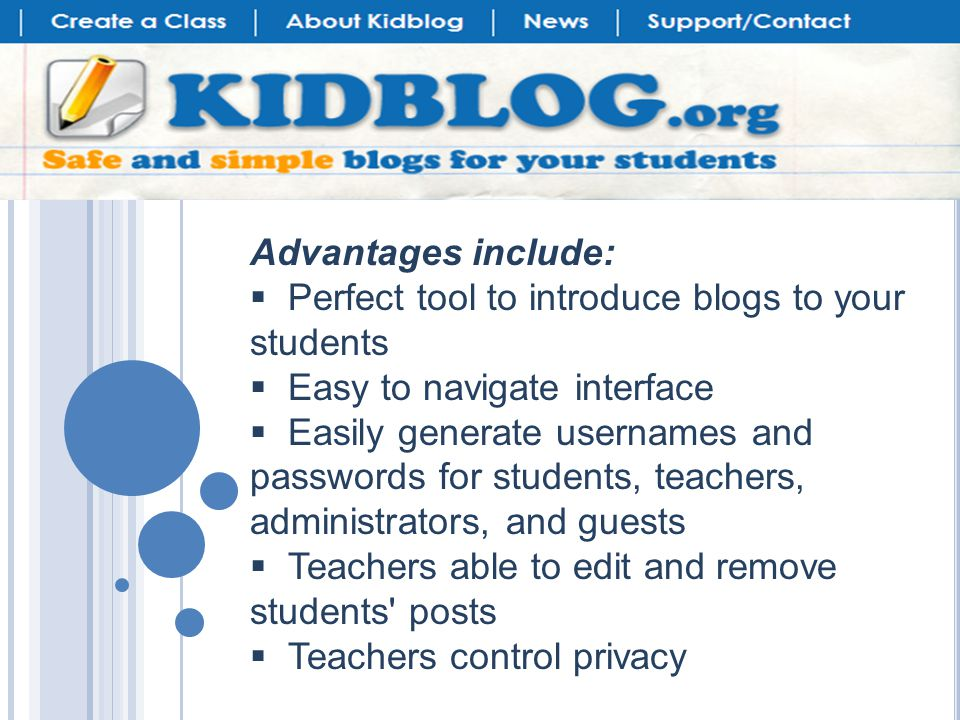 Once the groups are set up, kids viewing the blog can look at posts just by one person or filter to show just relevant groups.