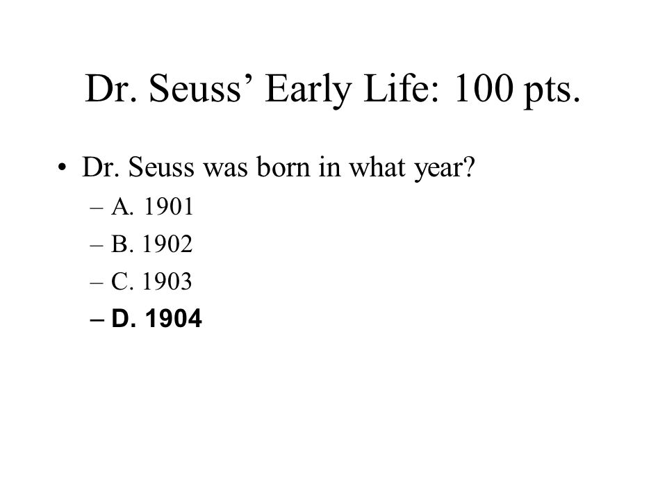 Book Facts: 60 pts.What was Dr. Seuss' first book.