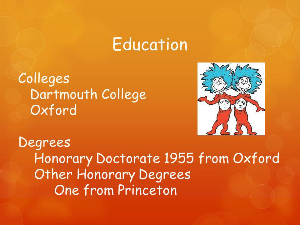 Education Colleges Dartmouth College Oxford Degrees Honorary Doctorate 1955 from Oxford Other Honorary Degrees One from Princeton