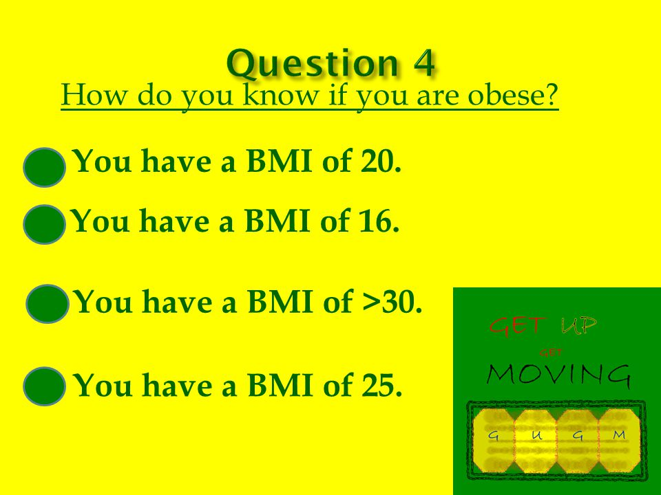 How do you know if you are obese. You have a BMI of 20.