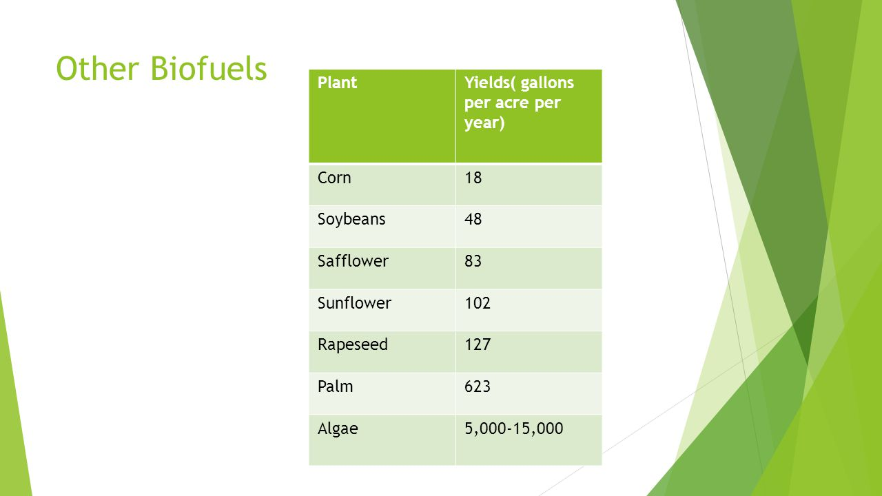 Other Biofuels PlantYields( gallons per acre per year) Corn18 Soybeans48 Safflower83 Sunflower102 Rapeseed127 Palm623 Algae5,000-15,000