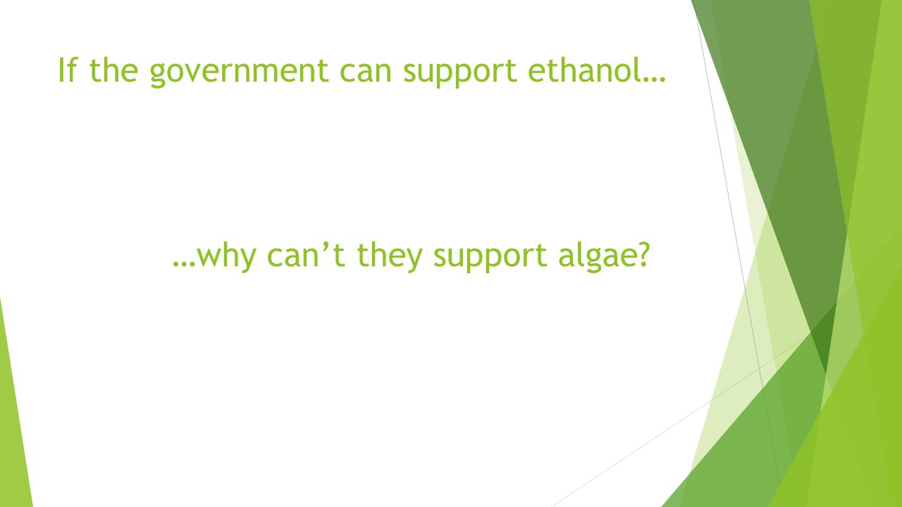 If the government can support ethanol… …why can't they support algae