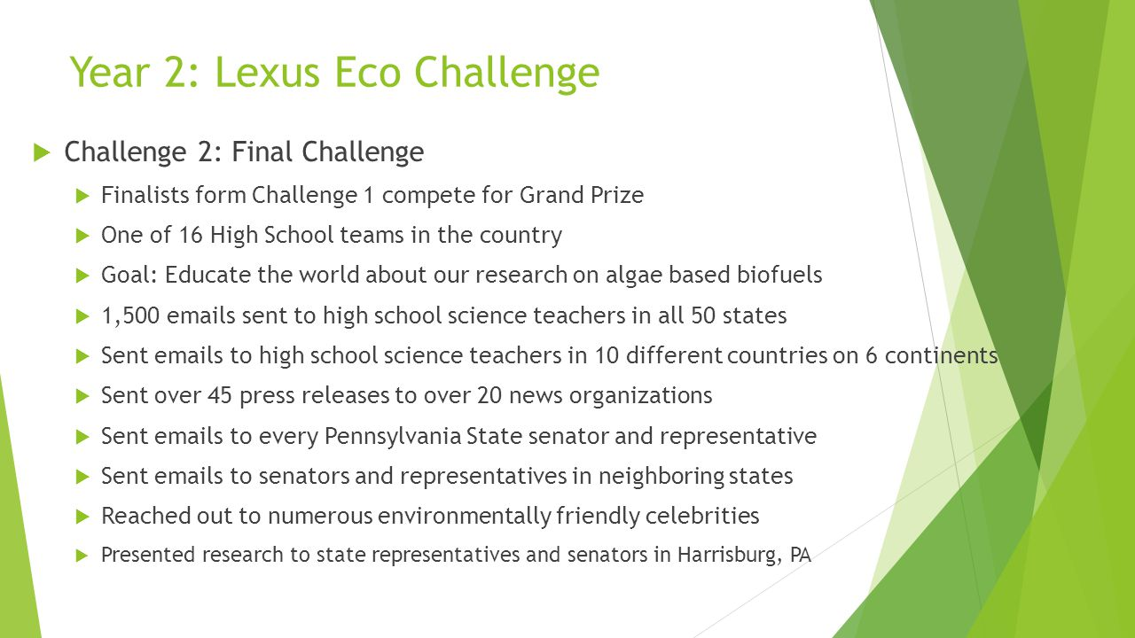 Year 2: Lexus Eco Challenge  Challenge 2: Final Challenge  Finalists form Challenge 1 compete for Grand Prize  One of 16 High School teams in the country  Goal: Educate the world about our research on algae based biofuels  1,500 emails sent to high school science teachers in all 50 states  Sent emails to high school science teachers in 10 different countries on 6 continents  Sent over 45 press releases to over 20 news organizations  Sent emails to every Pennsylvania State senator and representative  Sent emails to senators and representatives in neighboring states  Reached out to numerous environmentally friendly celebrities  Presented research to state representatives and senators in Harrisburg, PA