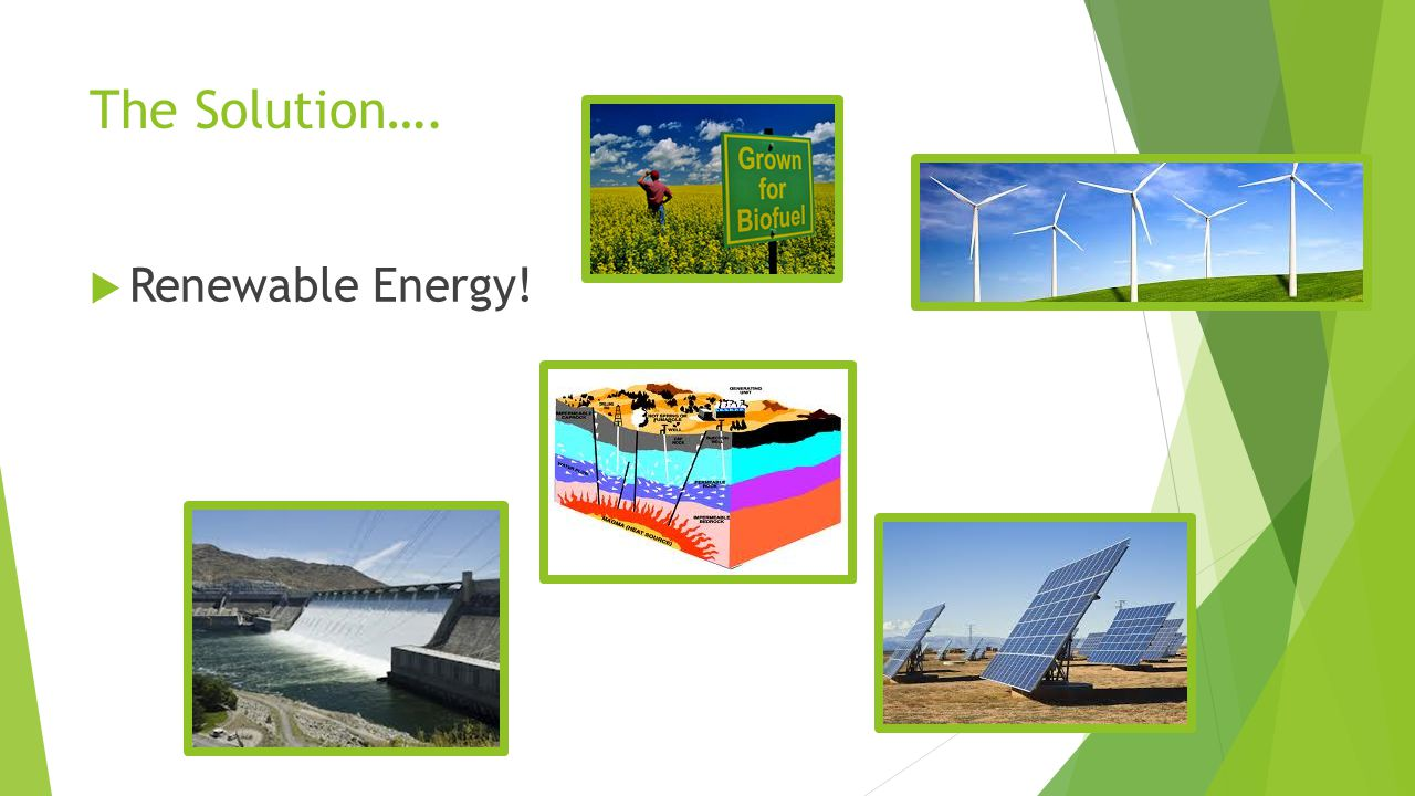 The Solution….  Renewable Energy!