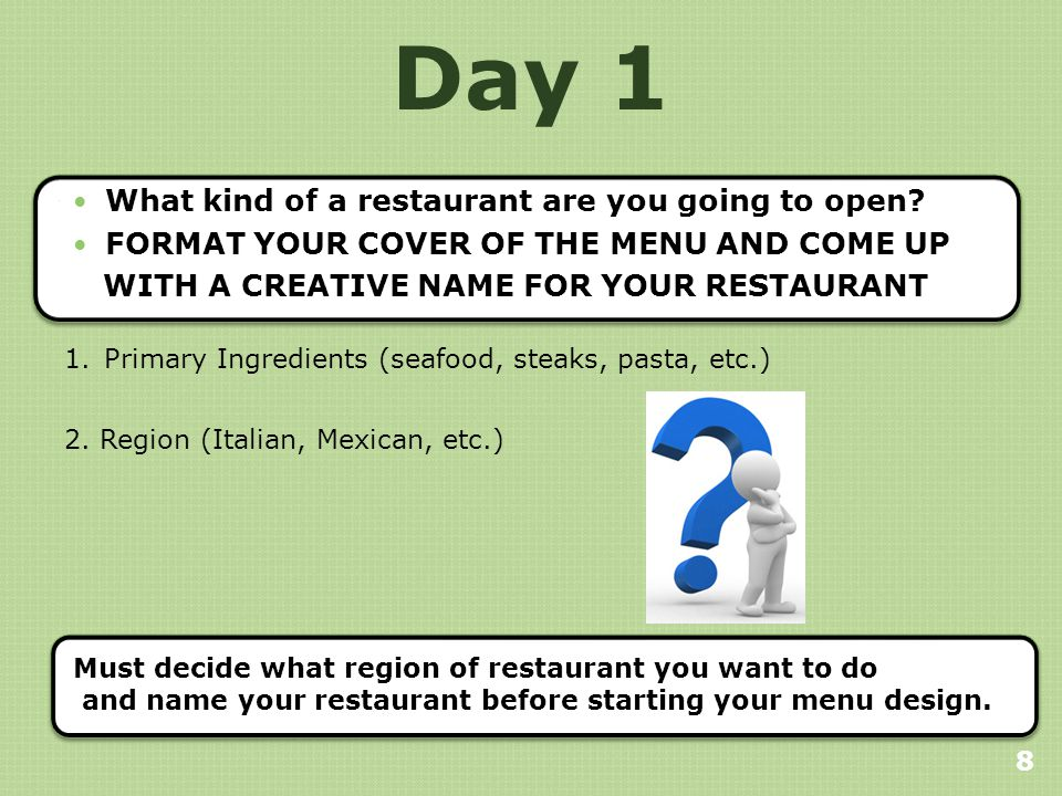 Day 1 What kind of a restaurant are you going to open.