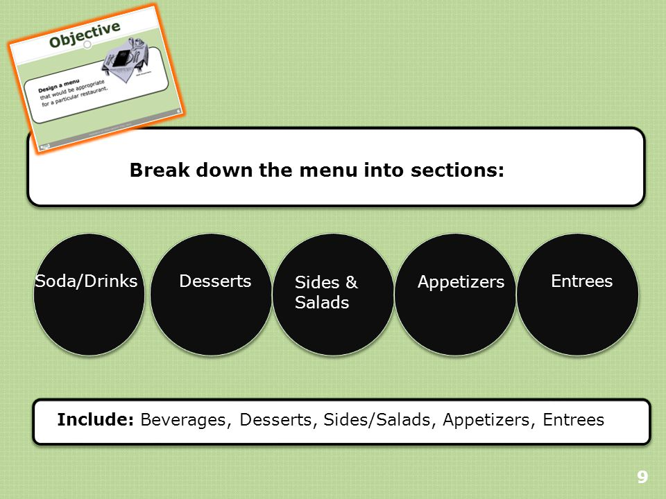 Break down the menu into sections: 9 Include: Beverages, Desserts, Sides/Salads, Appetizers, Entrees Soda/DrinksDesserts Sides & Salads Appetizers Entrees