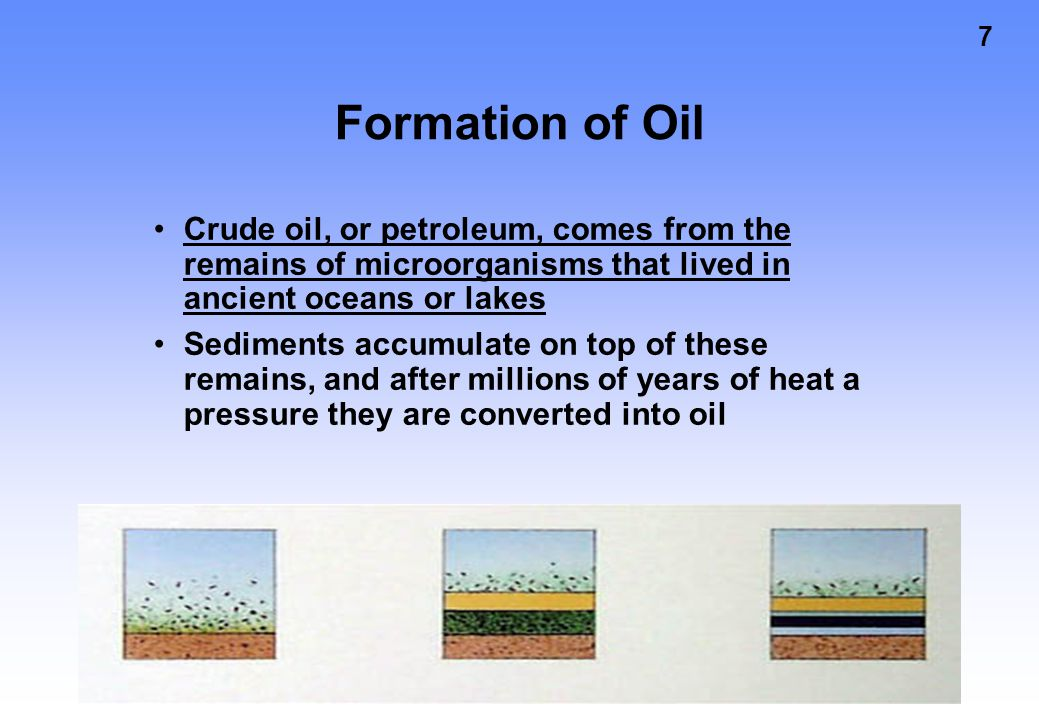 7 Formation of Oil Crude oil, or petroleum, comes from the remains of microorganisms that lived in ancient oceans or lakes Sediments accumulate on top of these remains, and after millions of years of heat a pressure they are converted into oil