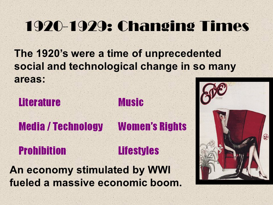 1920-1929: Changing Times An economy stimulated by WWI fueled a massive economic boom. The 1920's were a time of unprecedented social and technologica