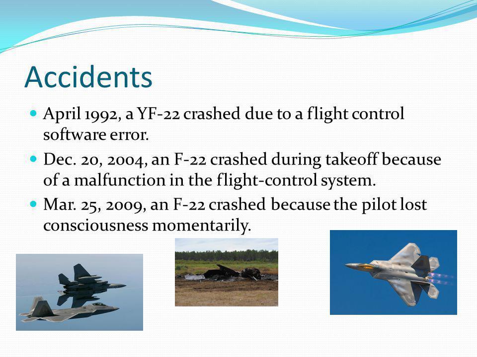 Accidents April 1992, a YF-22 crashed due to a flight control software error.