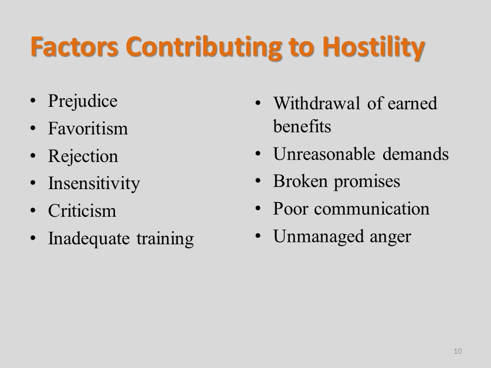 Factors Contributing to Hostility Prejudice Favoritism Rejection Insensitivity Criticism Inadequate training Withdrawal of earned benefits Unreasonable demands Broken promises Poor communication Unmanaged anger 10