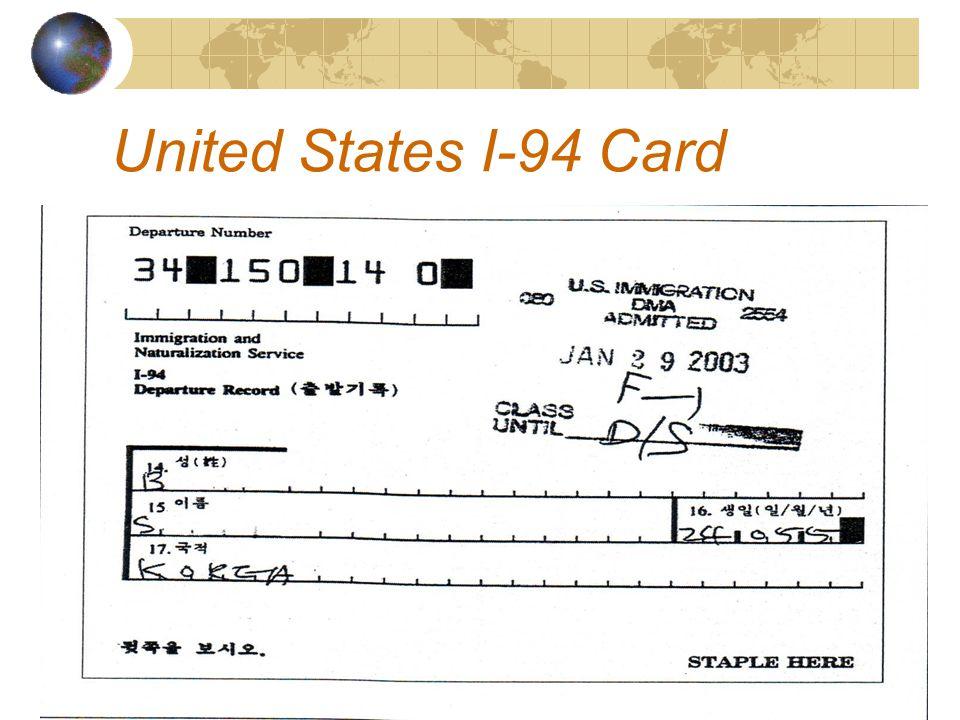 United States I-94 Card