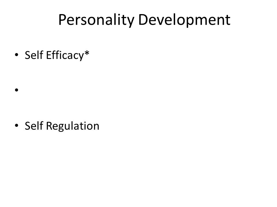 Personality Development Self Efficacy* Self Regulation