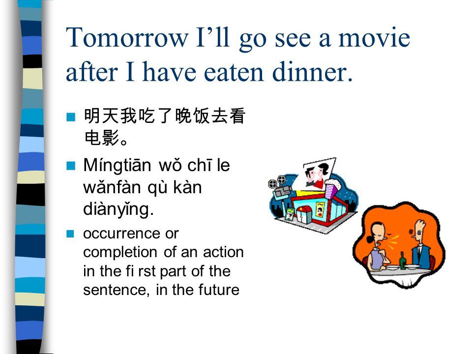 Tomorrow I'll go see a movie after I have eaten dinner.
