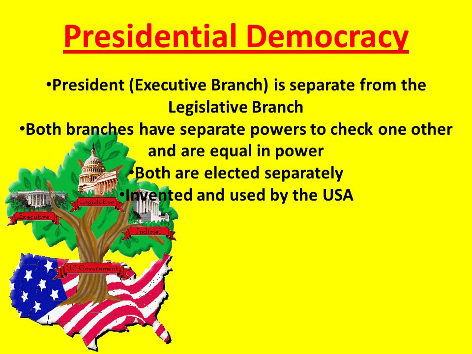 Presidential Democracy President (Executive Branch) is separate from the Legislative Branch Both branches have separate powers to check one other and