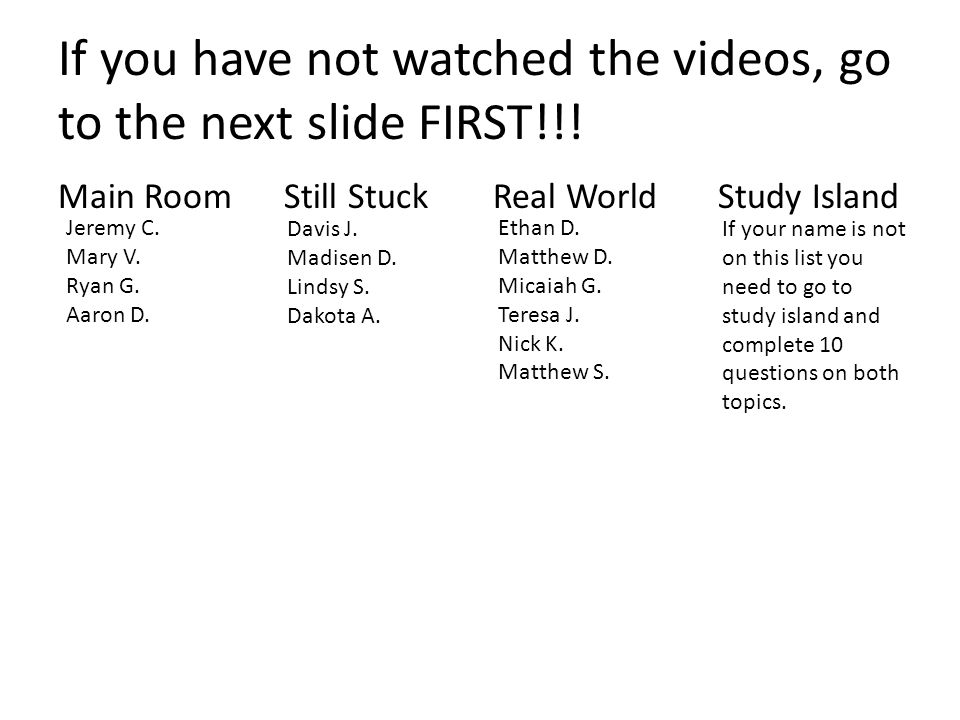 If you have not watched the videos, go to the next slide FIRST!!.