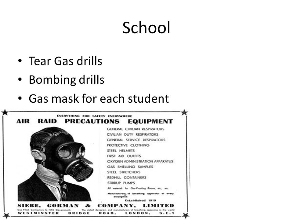 School Tear Gas drills Bombing drills Gas mask for each student