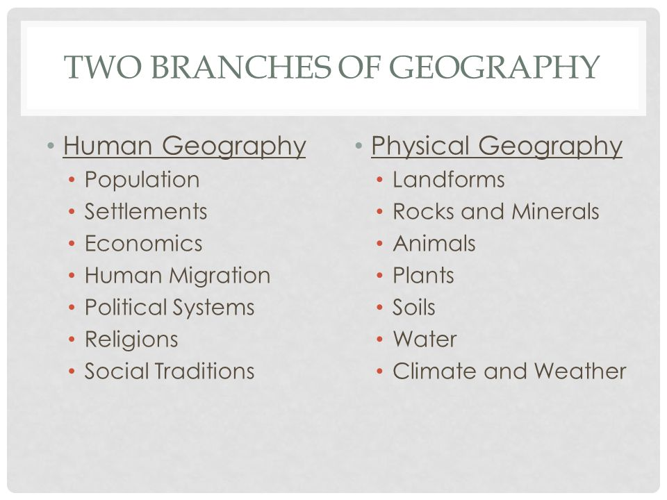 TWO BRANCHES OF GEOGRAPHY Human Geography Population Settlements Economics Human Migration Political Systems Religions Social Traditions Physical Geog