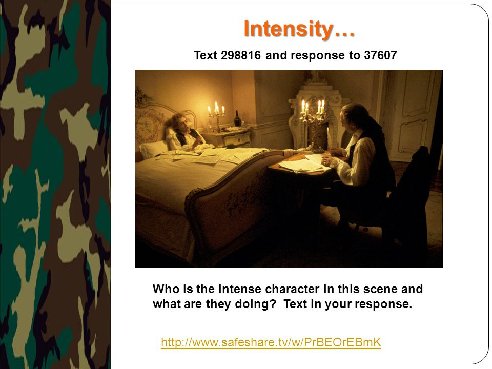 Intensity… http://www.safeshare.tv/w/PrBEOrEBmK Who is the intense character in this scene and what are they doing? Text in your response. Text 298816