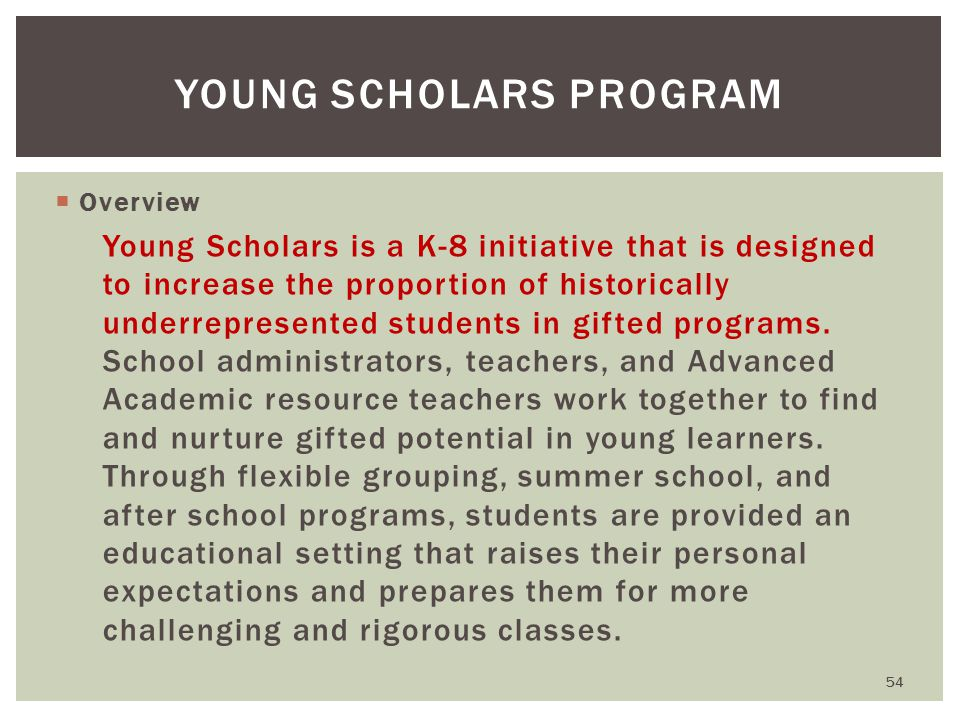  Overview Young Scholars is a K-8 initiative that is designed to increase the proportion of historically underrepresented students in gifted programs.