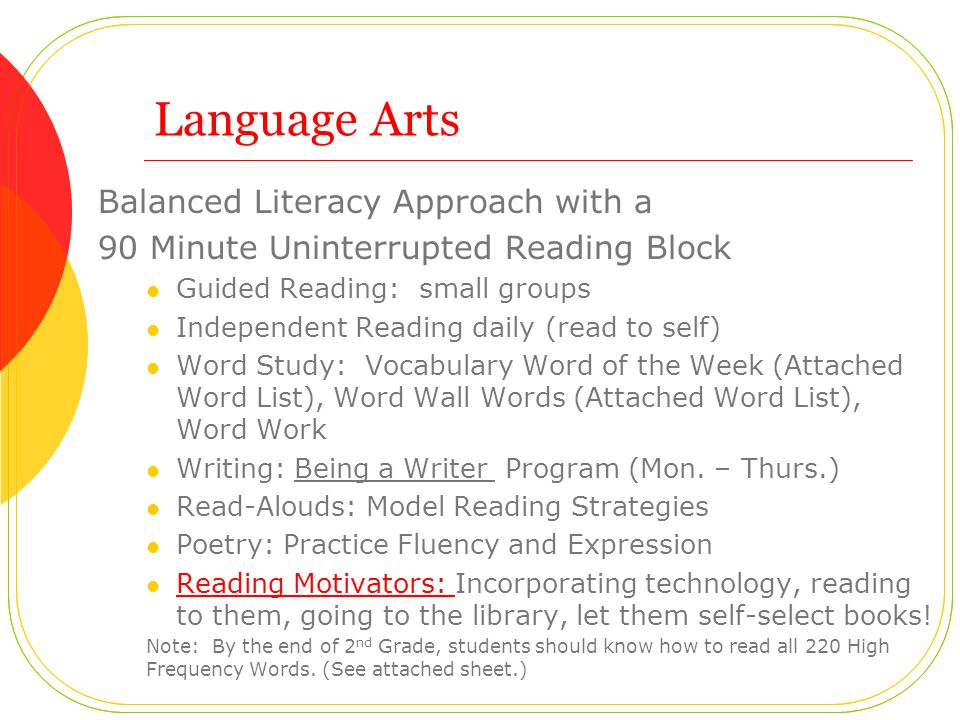 Language Arts Balanced Literacy Approach with a 90 Minute Uninterrupted Reading Block Guided Reading: small groups Independent Reading daily (read to