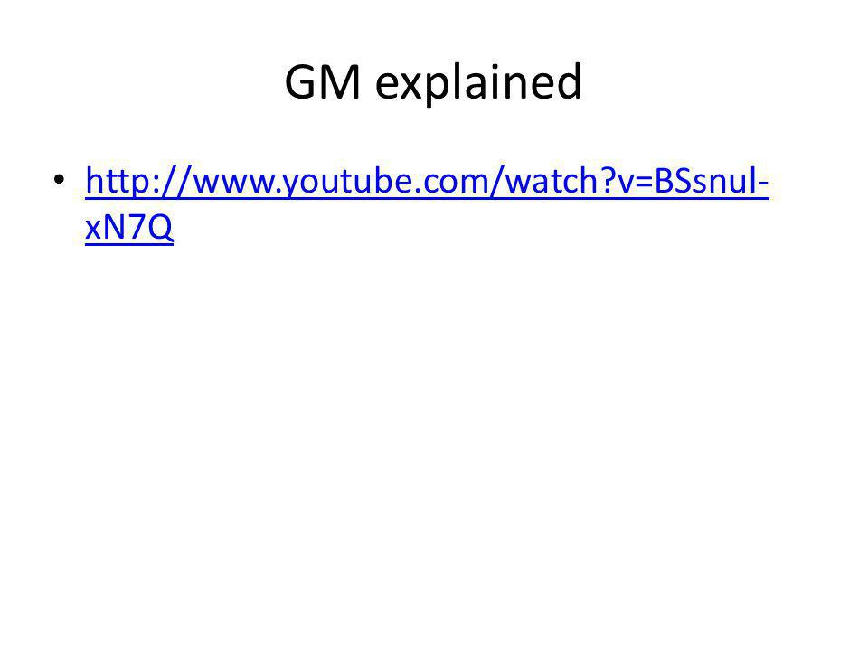 GM explained http://www.youtube.com/watch?v=BSsnul- xN7Q http://www.youtube.com/watch?v=BSsnul- xN7Q