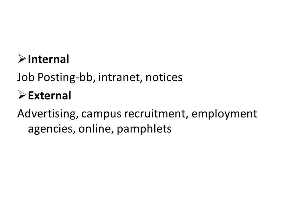  Internal Job Posting-bb, intranet, notices  External Advertising, campus recruitment, employment agencies, online, pamphlets