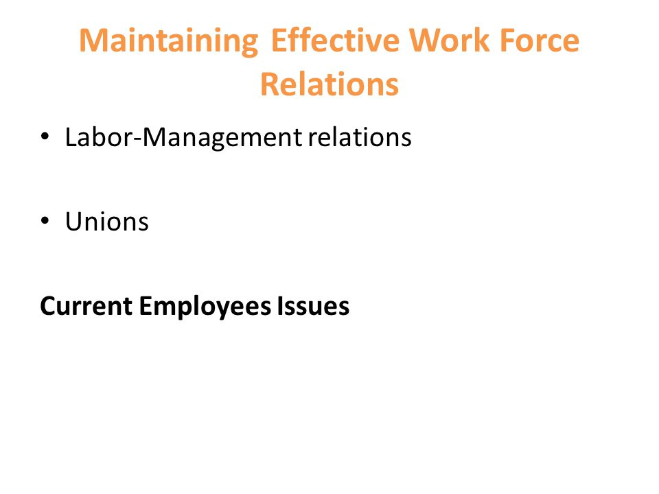 Maintaining Effective Work Force Relations Labor-Management relations Unions Current Employees Issues