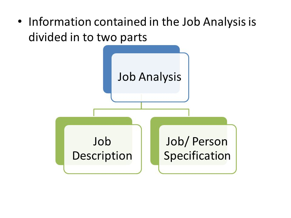 Information contained in the Job Analysis is divided in to two parts Job Analysis Job Description Job/ Person Specification