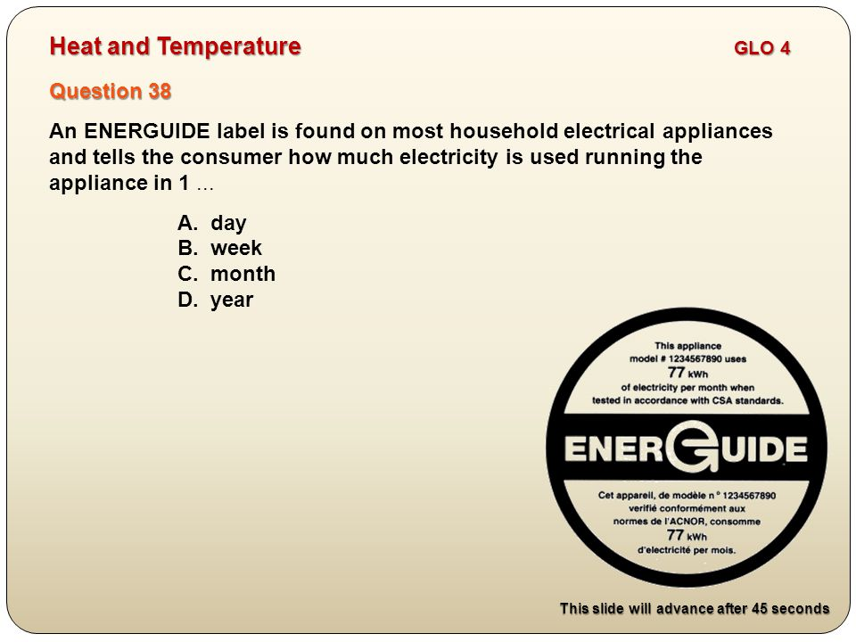 Question 38 An ENERGUIDE label is found on most household electrical appliances and tells the consumer how much electricity is used running the appliance in 1...