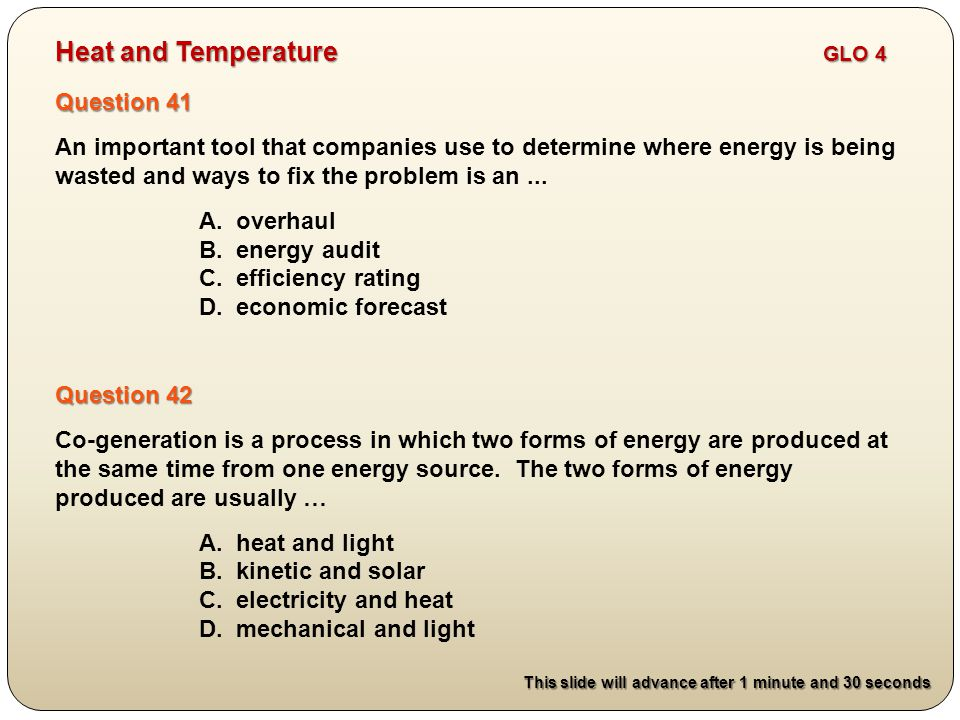 Question 41 An important tool that companies use to determine where energy is being wasted and ways to fix the problem is an...