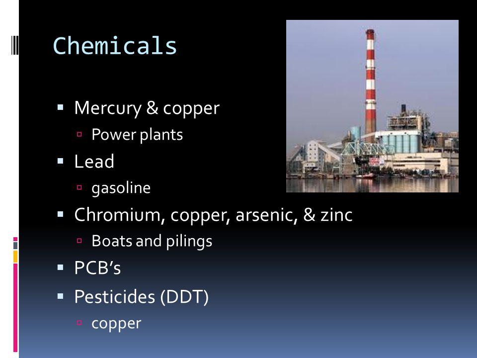 Chemicals  Mercury & copper  Power plants  Lead  gasoline  Chromium, copper, arsenic, & zinc  Boats and pilings  PCB's  Pesticides (DDT)  cop
