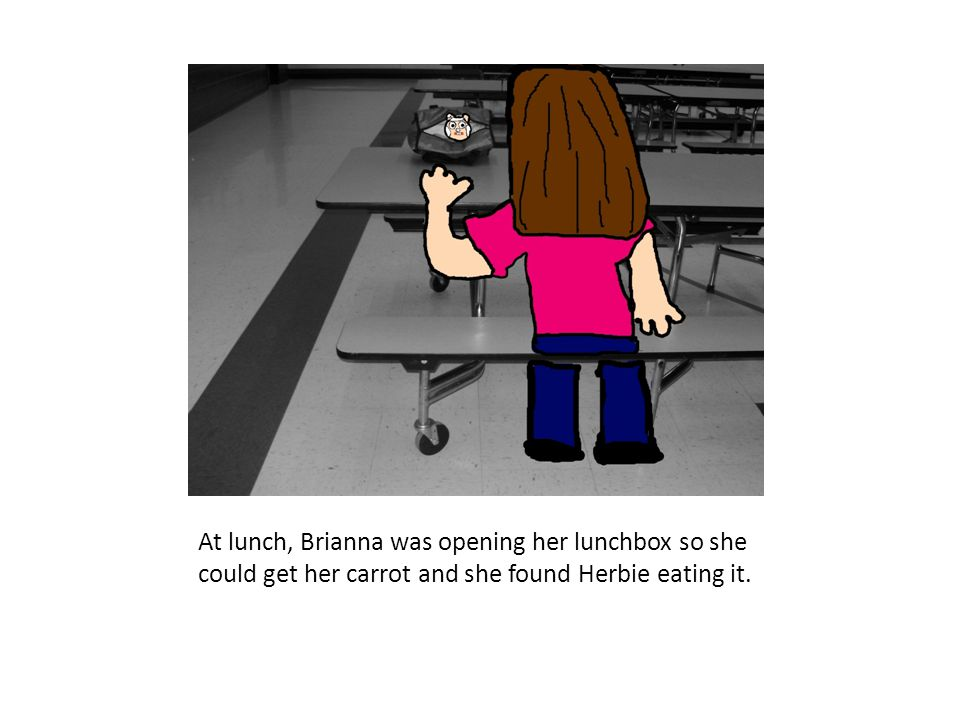At lunch, Brianna was opening her lunchbox so she could get her carrot and she found Herbie eating it.